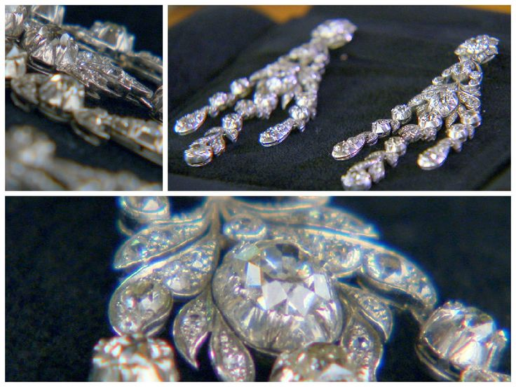 There are 15 carets of hand cut diamonds, encased in platinum, in these chandelier style, Victorian-era, antique earrings. Want to know more? Watch Beverly Hills Pawn on REELZ.