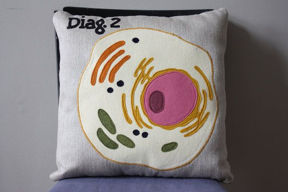 Who doesn't like Mitochondria? -Science Diagram Pillow  Eukaryotic Cell by dirtsastudio on Etsy, $65.00