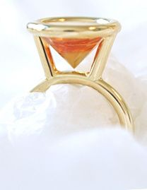 """Modern rings: The """"upside down"""", a unique golden ring with a special mirror cut citrine stone. Design by Bertie Hamers for bofb"""
