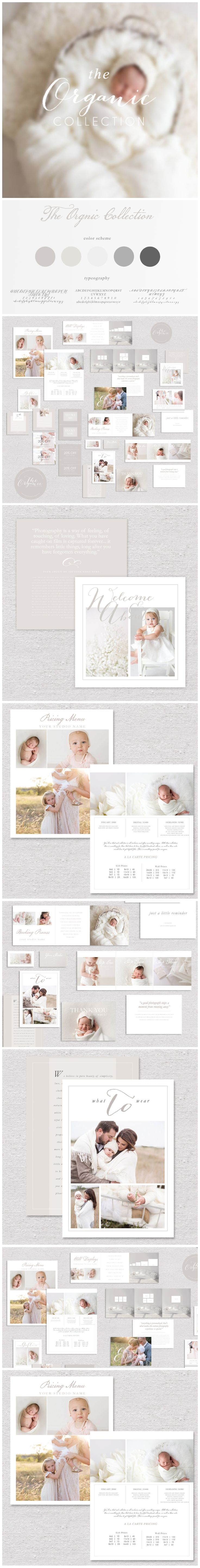 CLIENT WELCOME PACKET & MARKETING SET FOR PROFESSIONAL PHOTOGRAPHERS   THE ORGANIC COLLECTION  On Sale!!!!  Modern Market