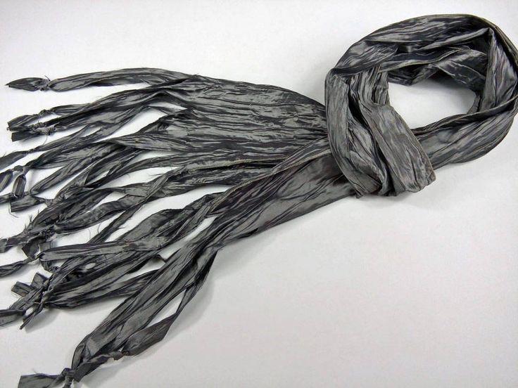 Charcoal Gray Taffeta Pleated Silk Scarf, Dark Cray, Neckerchief Scarf, Abstract Shabby Chic Scarf,Handmade Scarves Mens,Womens Mens Gift by SilkFantazi on Etsy