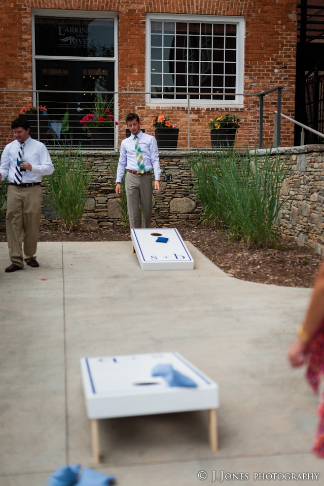 Chevron, preppy wedding - with matching lawn games!