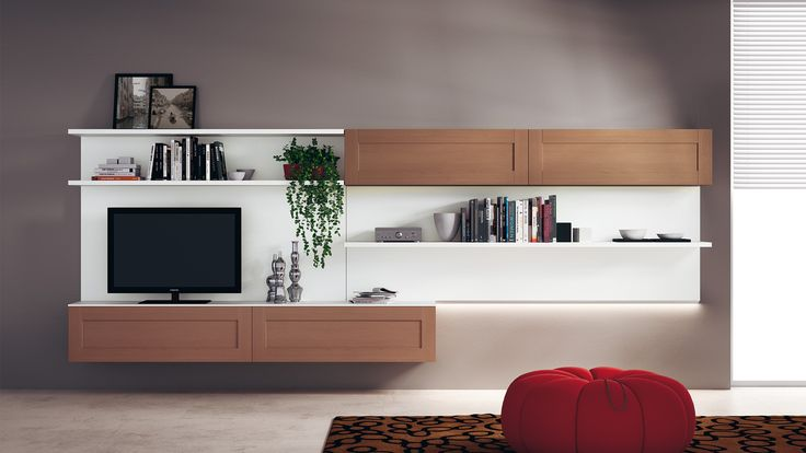 Living area composition of wall-mounted structures which features wall units and shelves of varying lengths | #Scavolini