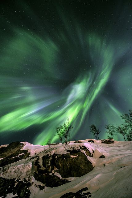 """Green Energy"" by Fredrik Broms. Runner-up in the ""Earth and Space"" category. A very dramatic aurora photograph which looks like a whirlpool in the sky. Mona Evans, ""Astronomy Photographer of the Year 2013"" http://www.bellaonline.com/articles/art181754.asp"