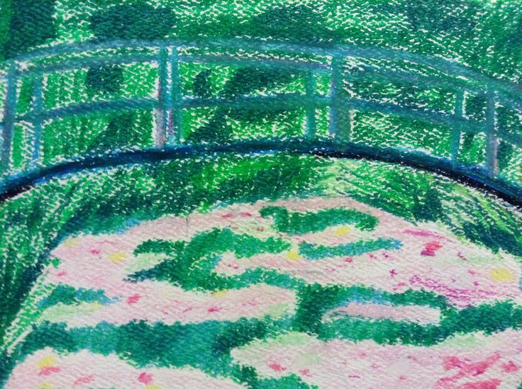 Monet on card stock and oil pastel