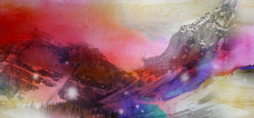 """Steven Nederveen VALLEY OF COLOURS / Canada House Gallery - mixed media, panel 28"""" x 60"""""""