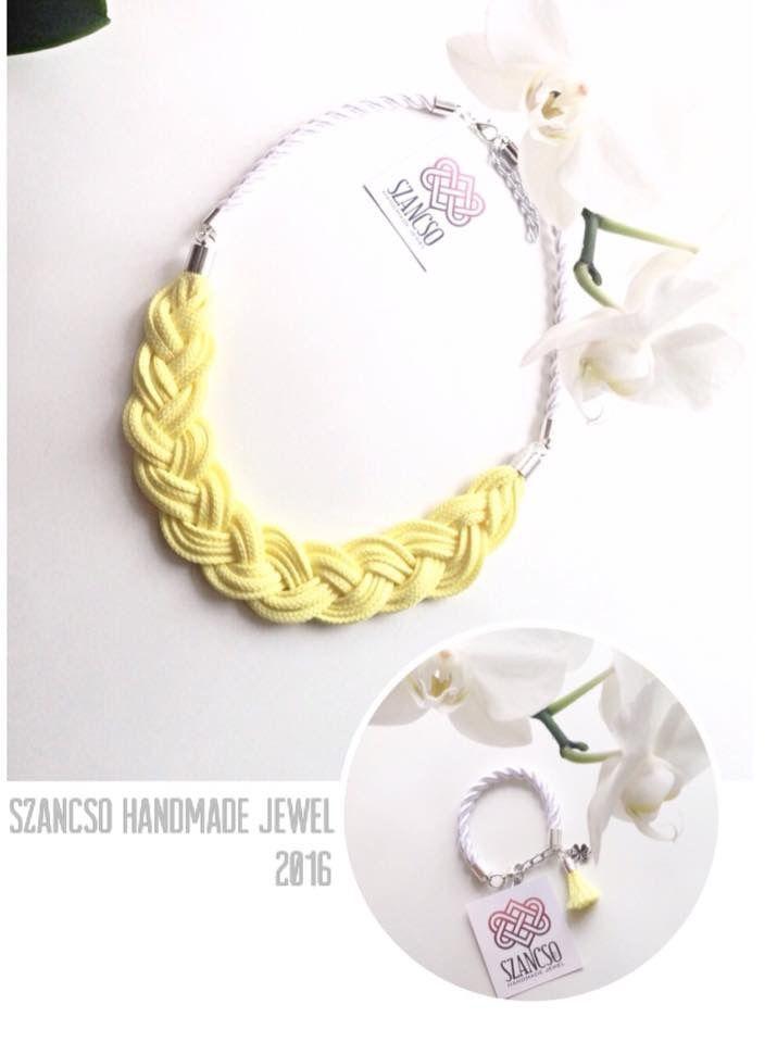 Handmade pastel yellow poca necklace with tassel bracelet