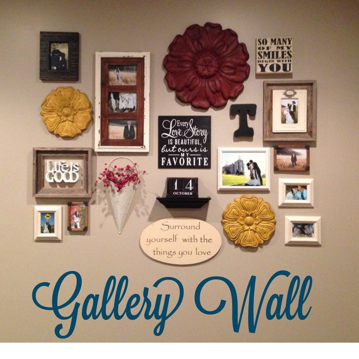 gallery wall i love the flower tiles for the home home decor frames on wall diy home decor. Black Bedroom Furniture Sets. Home Design Ideas