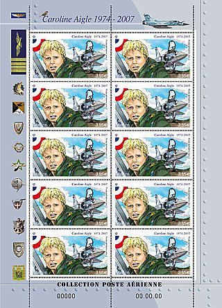 Caroline Aigle 1974-2007. Mini-sheet Caroline Aigle -Air Mail.This mini-sheet traces tcareer of Caroline Aigle,1st French female fighter pilot.Top Dassault Mirage 2000-5 in which she flew,& a sparrow allusion to her nickname.Left insignia of schools,battalions,squadrons that marked out her career. © La Poste