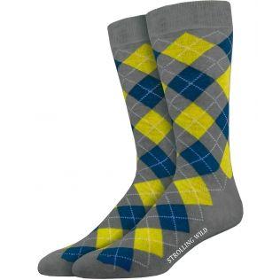 Grey, Yellow & Blue Argyle Socks for Men