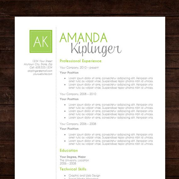 instant download resume cv template design the amanda resume - Free Modern Resume Template