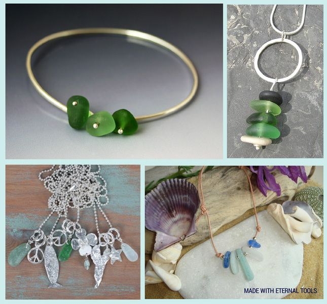 sea glass jewellery made using diamond drill bits and tools from Eternal Tools. Kriket Broadhurst, Jillyflower jewellry, Kate Chell and Scottishshores