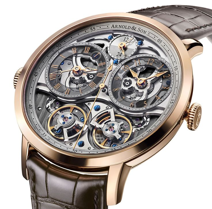 New Release from Arnold & Son. The DBG Skeleton - standing for Double-Balance GMT. With a Equation of Time display at 12 o'clock determines the difference between each display, as well as whether it's day or night in the second time zone.