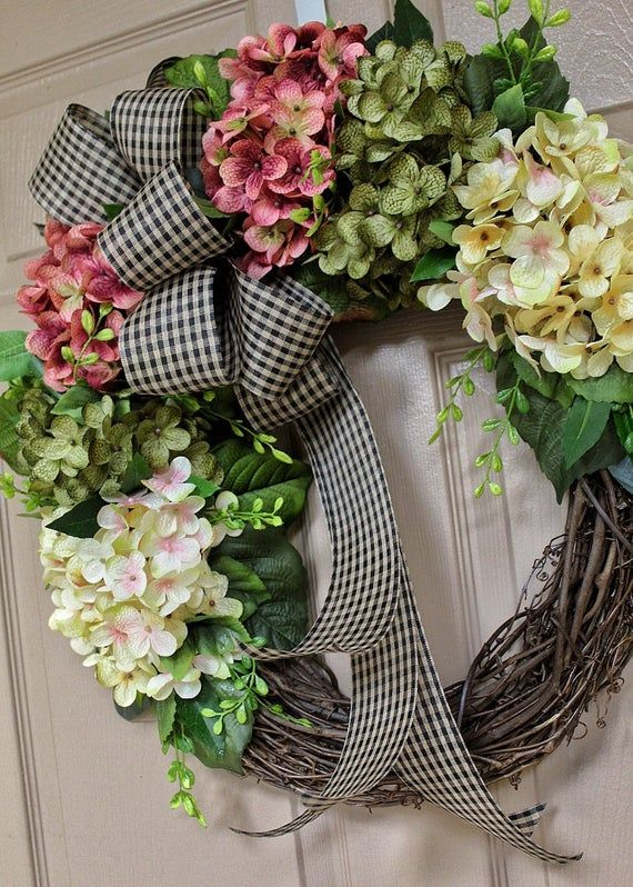 Wreath Front Door Wreaths Hydrangea Wreath Wreaths Door Decor Blended Hydrangea Wreath Housewarming Gift