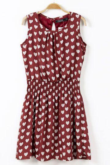 Hear Pattern Chiffon Dress in Burgundy