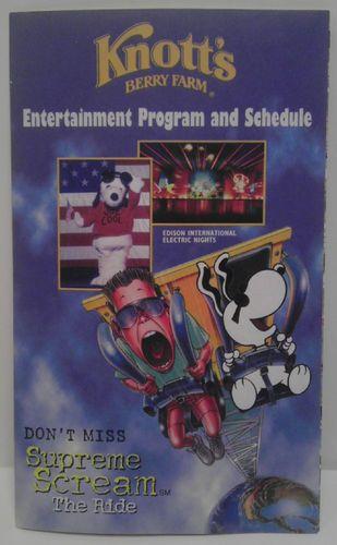 1999 Knotts Berry Farm Amusement Park Map & Guide Entertainment Roller Coasters