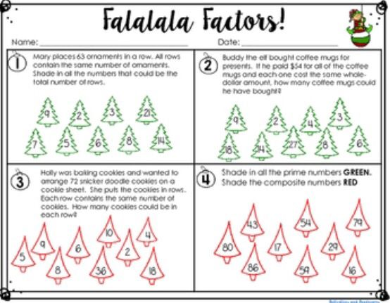 Factors and Multiples Christmas Themed {Falalala Factors! and Merry ...