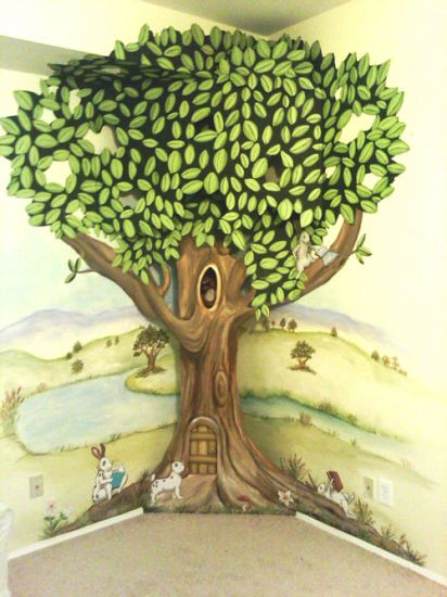 3 D Wooden Cut Out Tree Mural With Opening Door And Holes