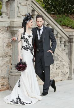 Incredible Victorian Gothic mermaid-style corset wedding gown.