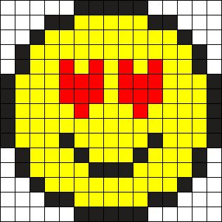 Heart Eyes Emoji Perler Bead Pattern Bead Sprite Perline