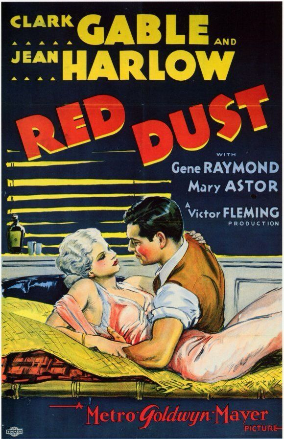 """Poster from the film """"Red Dust"""", starring Jean Harlow and Clark Gable."""