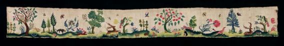 ACCESSION NUMBER  25.186a, Large section of a petticoat border of plain weave linen embroidered with polychrome wool (crewelwork); Roumanian couching stitch used for most of solid areas in leaves, fruit, and trunks of trees and the yellow, green, and blue ground area, as well as butterflies, birds, parrot in tree, squirrels, stag, dogs, rabbits, and house; stem stitch used for thinner branches and outlines; satin, flat, and running stitches may also have been used.