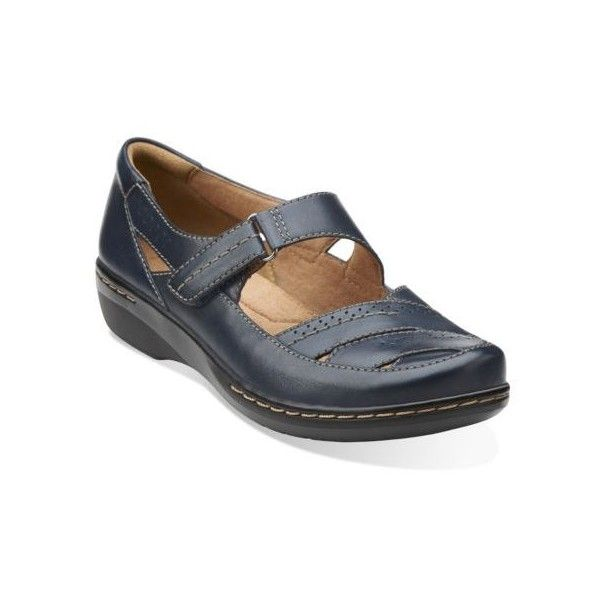 Clarks Women's Evianna Date In Navy Leather ($85) ❤ liked on Polyvore