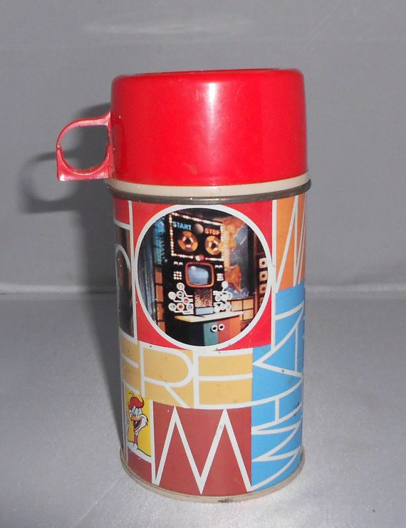 "Vintage 1972 Curiosity Shop Metal Thermos for 1972 Curiosity Shop Metal Lunchbox ""Who What Why Where When and How"""