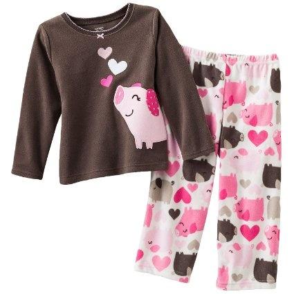 Amazon Com Carter S Heart Amp Pig Microfleece Pajama Set