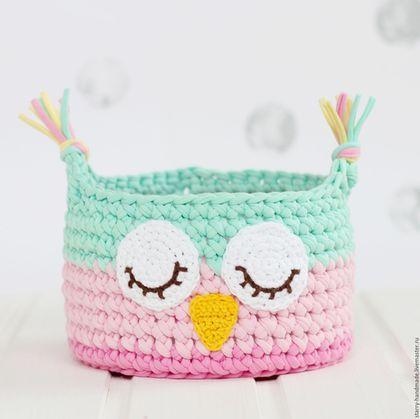 """Crochet basket Owl / Детская ручной работы. Ярмарка Мастеров - ручная работа. Купить Вязаная корзинка """"Сова"""". Handmade. Мятный, корзинка вязаная"""