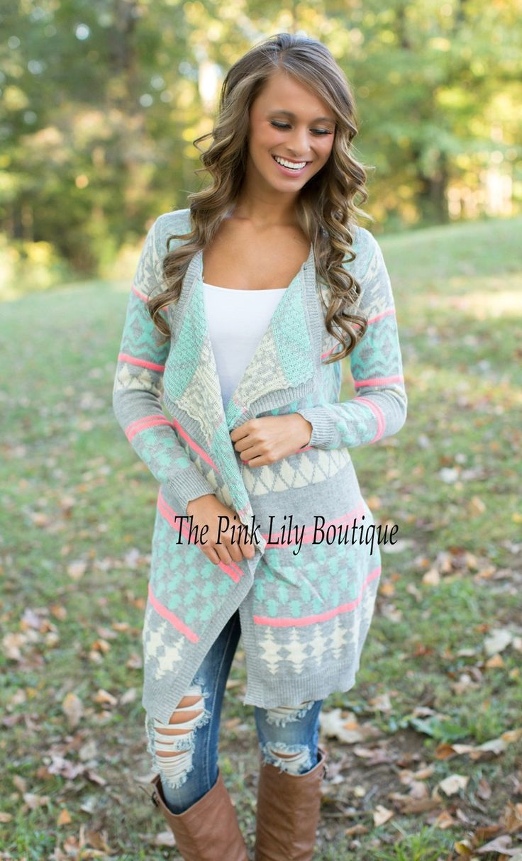 The Pink Lily Boutique - Mint and Pink Aztec Cardigan, $35.00 (http://thepinklilyboutique.com/mint-and-pink-aztec-cardigan/)