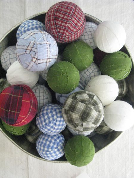 Homemade ornaments from plaid shirts at goodwill