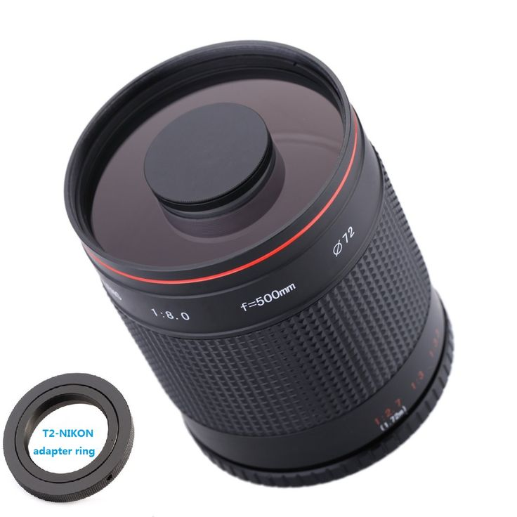 500mm F8 0 Telephoto Mirror Lens with T2 AI Adapter Ring for Nikon D3000 D3100. #500mm #Telephoto #Mirror #Lens #with #Adapter #Ring #Nikon #D3000 #D3100