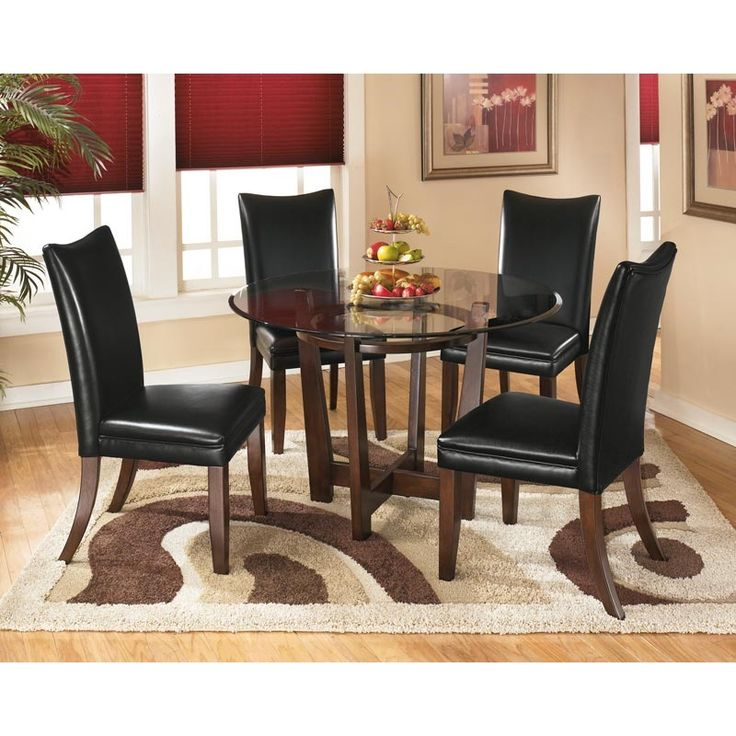 Ashley Charrell Black Faux Leather 5 Piece Dining Set | Weekends Only  Furniture And Mattress