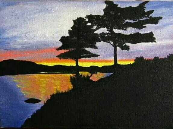 Oil painting in canvas: Lake in Ontario (original). By MJAC.