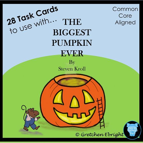 28 Task Cards to complement The Biggest Pumpkin Ever by Steven Knoll. CCS Aligned. Includes recording sheets and blank task cards. Grades K-2