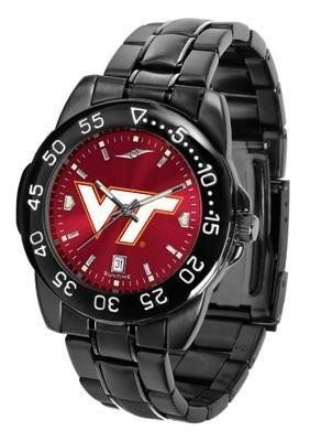 Virginia Tech Hokies Men's Logo Watch by SunTime. $70.95. Men. Linked Steel Band. Officially Licensed Virginia Tech Hokies Men's Stainless Steel Watch. 3 Year Limited Warranty. Adjustable Band. Virginia Tech Hokies Men's Logo Watch. The FantomT boasts a bold but not in-your-face image of Hokies logo in metallic silver on a black Ano-Chrome dial. The watch features a dark gunmetal finish, a date calendar display and a rotating bezel/timer that circles the scratch-resistant glas...