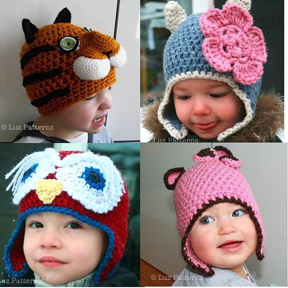 Crochet animal hat patterns 15 animal hat by LuzCrochetPatterns, $35.00