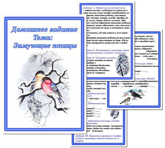 Зимующие птицы. Картотека домашних заданий для старшей группы