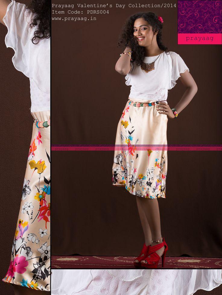 Peach satin floral dress