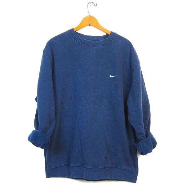 Vintage Navy Blue NIKE Sweatshirt Slouchy ATHLETICS Work Out Sports... (45 CAD) ❤ liked on Polyvore featuring nike