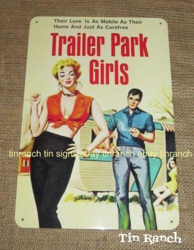 Tin Sign retro-TRAILER-PARK-GIRLS vintage caravan camper. Sign by Tinranch