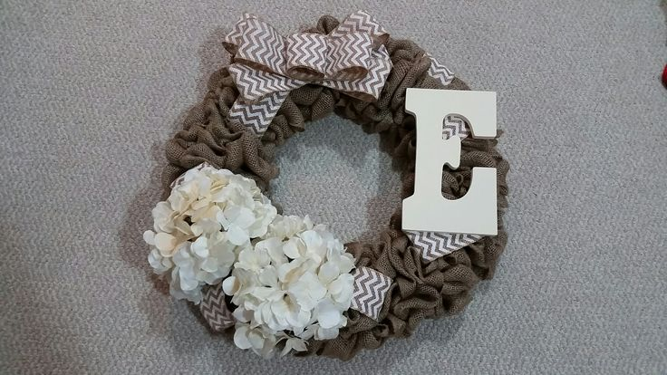 Custom Burlap Wreath with Flowers, Chevron Bow and Monogram Letter #burlap #burlapwreath #wreath #chevron #bow #chevronbow #flowerse #monogram #goldenforrest #goldenforrestcreations