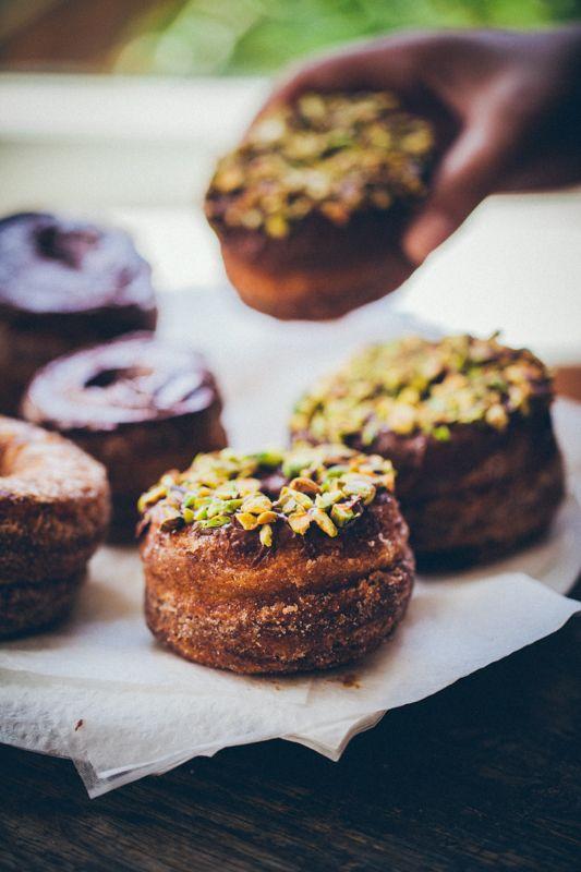 dark chocolate pistachio cronuts