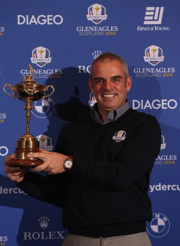 Paul McGinley european team ryder cup 2014 captain poses with the Ryder Cup trophy on January 15, 2013