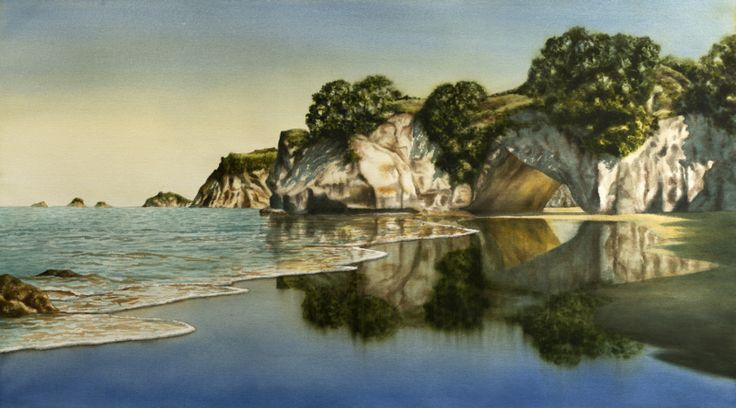 cathedral cove - transparent acrylic - www.paulconey.co.nz