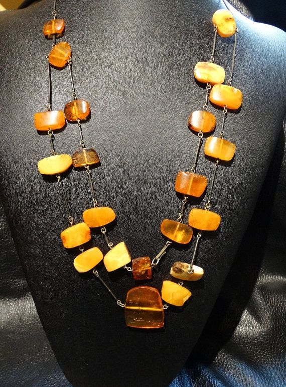 Baltic Butterscotch Amber Necklace Vintage 41 by ElegantArtifacts, $485.00