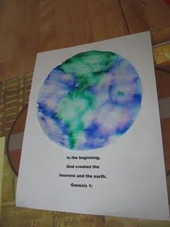 Making Earth out of a coffee filter. Very cool. Earth day art project