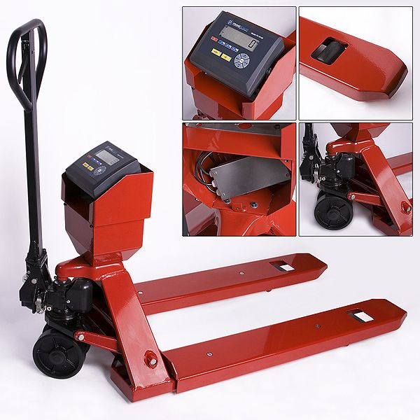 """Home :: Industrial Scales :: Pallet Truck Scales / Forklift Scales :: +Prime 5000lb/1lb Pallet Truck / Pallet Jack / Pallet Scale with Indicator.  The Prime 5000lb heavy duty pallet jack scale can fit most standard pallets.The forks can go as low as 3.25""""."""