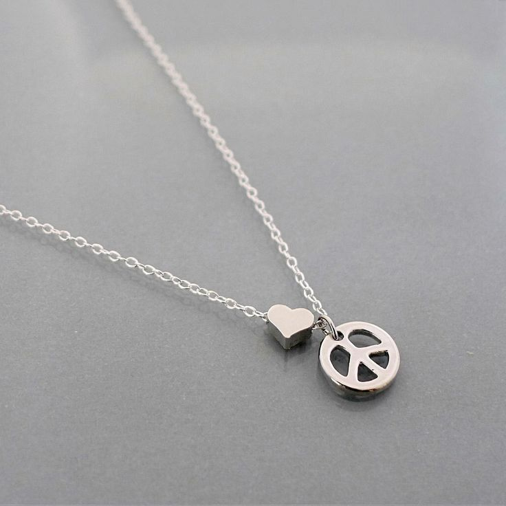 Peace Necklace, tiny heart necklace, small peace sign symbol pendant, sterling silver chain, dainty everyday jewelry holidays gift, B9studio